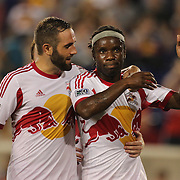 Pegguy Luyindula, New York Red Bulls, is congratulated by team mate Brandon Barklage, (left) after scoring from the penalty spot during the New York Red Bulls V Montreal Impact, Major League Soccer regular season match at Red Bull Arena, Harrison, New Jersey. USA. 13th July 2013. Photo Tim Clayton