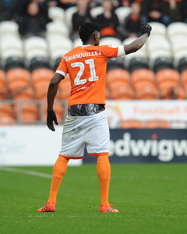 Blackpool's Armand Gnanduillet<br /> <br /> Photographer Kevin Barnes/CameraSport<br /> <br /> The EFL Sky Bet Championship - Blackpool v Peterborough United - Saturday 2nd November 2019 - Bloomfield Road - Blackpool<br /> <br /> World Copyright © 2019 CameraSport. All rights reserved. 43 Linden Ave. Countesthorpe. Leicester. England. LE8 5PG - Tel: +44 (0) 116 277 4147 - admin@camerasport.com - www.camerasport.com
