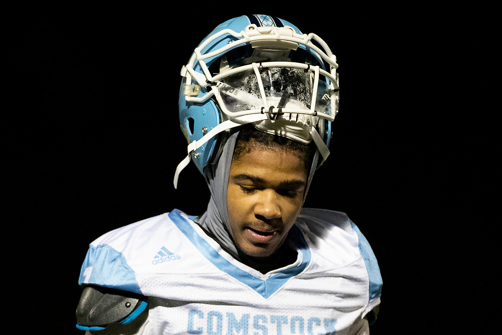 Comstock's Cornelius Shaver during the Comstock-Brandywine high school football game on Friday, October 30, 2020, at Selge Field in Niles, Michigan.
