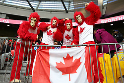 March 9, 2019 - Vancouver, BC, U.S. - VANCOUVER, BC - MARCH 09: Canad fans cheer on Team Canada during day 1 of the 2019 Canada Sevens Rugby Tournament on March 9, 2019 at BC Place in Vancouver, British Columbia, Canada. (Photo by Devin Manky/Icon Sportswire) (Credit Image: © Devin Manky/Icon SMI via ZUMA Press)