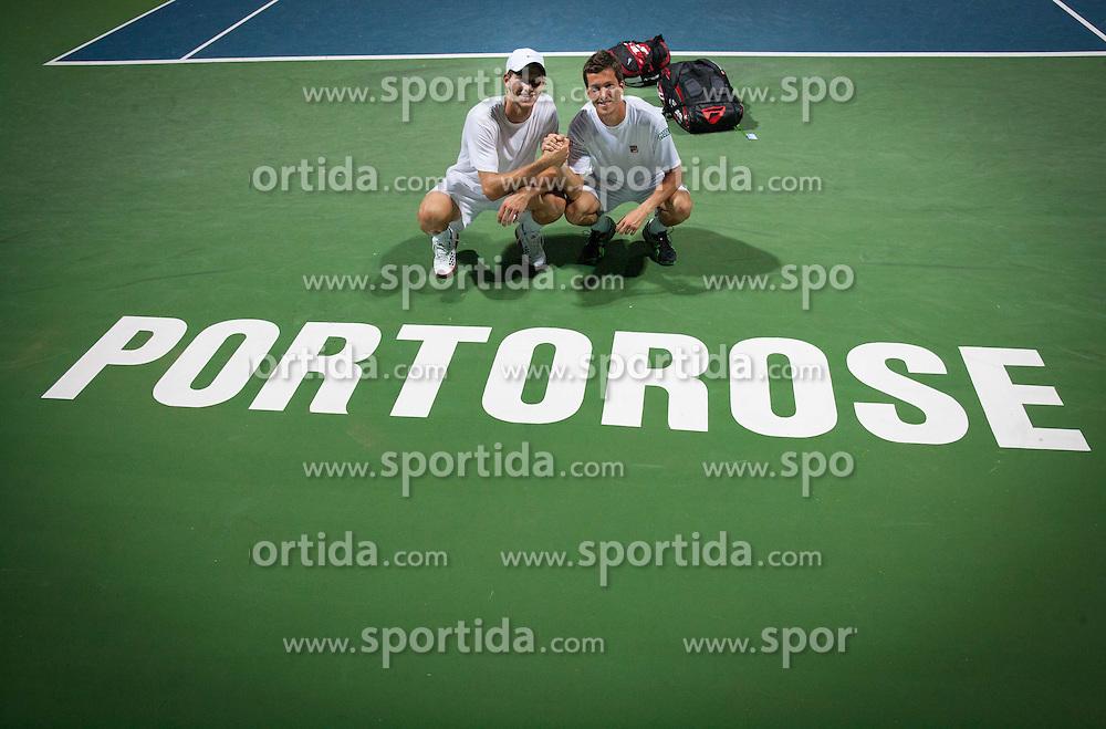 Blaz Rola of Slovenia and Aljaz Bedene of Slovenia after playing doubles during Day Three of tennis tournament ATP Challenger Tilia Slovenia Open 2013 on July 4, 2013 in SRC Marina, Portoroz / Portorose, Slovenia. (Photo by Vid Ponikvar / Sportida.com)