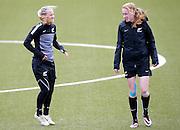 Ferns Liz Milne and Katie Hoyle. Football Ferns Media and Training Session, QBE Stadium Auckland, Wednesday 12th November 2014. Photo: Shane Wenzlick
