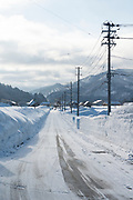 Tadami street, Nekka Shochu Distillery, Tadami, Fukushima, Japan, February 22, 2018. The Nekka shochu distillery was founded in July 2016 and at that time was the smallest shochu distillery in Japan. It makes shochu from locally-grown rice, and is helping support a local economy that has languished since the nuclear disaster of 2011.