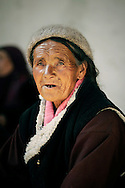 India, Ladakh. Portrait of an elderly woman from Phyang.