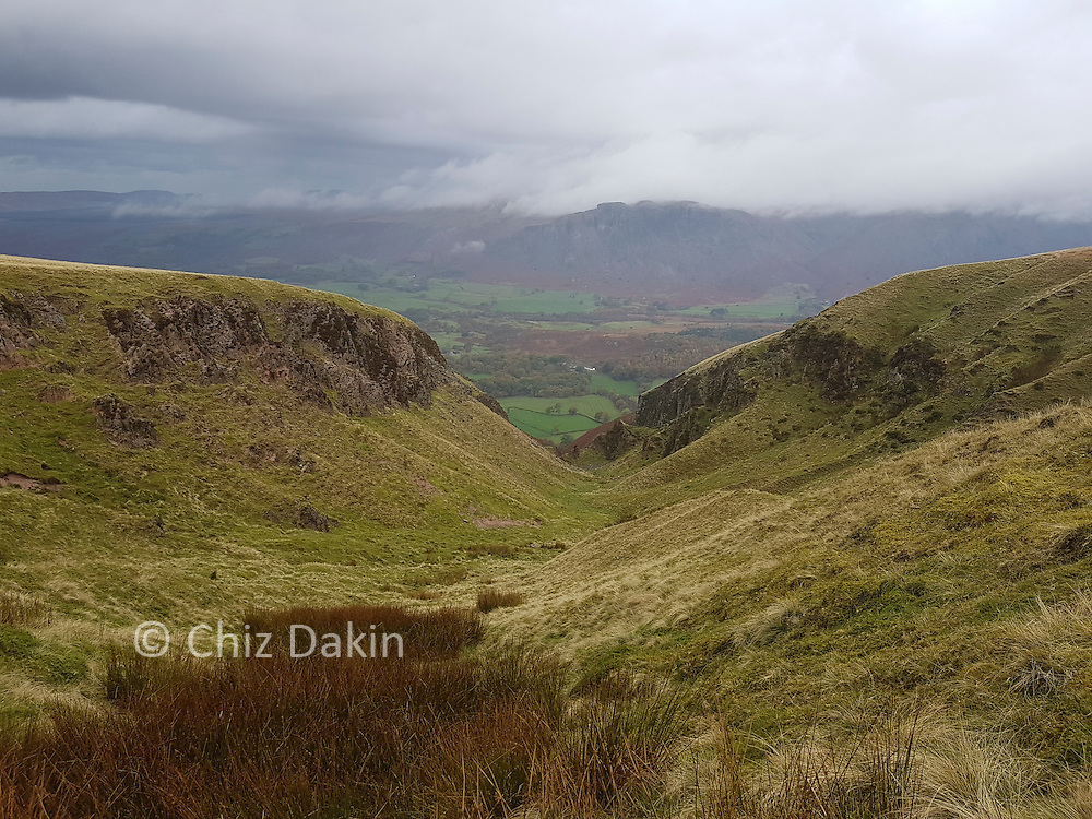 Greathall Gill - an impressive chasm leading down to Wasdale from Whin Rigg