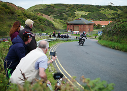 © Licensed to London News Pictures. <br /> 10/09/2017 <br /> Saltburn by the Sea, UK.  <br /> <br /> An entrant rides his motorcycle during the annual Saltburn by the Sea Historic Gathering and Hill Climb event. Organised by Middlesbrough and District Motor Club the event brings together owners of a wide range of classic cars and motorcycles dating from the early 1900's to 1975. Participants take part in a hill climb to test their machines up a steep hill near the town. Once held as a competitive gathering a change in road regulations forced the hill climb to become a non-competitive event.<br /> <br /> Photo credit: Ian Forsyth/LNP