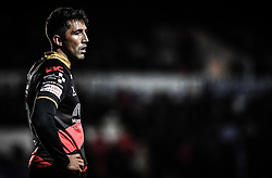 Dragons' Gavin Henson<br /> <br /> Photographer Craig Thomas/Replay Images<br /> <br /> EPCR Champions Cup Round 4 - Newport Gwent Dragons v Newcastle Falcons - Friday 15th December 2017 - Rodney Parade - Newport<br /> <br /> World Copyright © 2017 Replay Images. All rights reserved. info@replayimages.co.uk - www.replayimages.co.uk