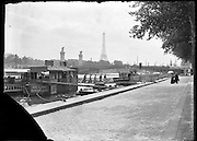 river boat taxi step up place with Pont Alexandre III and Eiffel Tower seen from the Right Bank Paris 1900