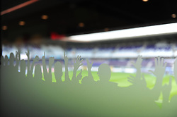Branding on the windows of fans cheering - Photo mandatory by-line: Dougie Allward/JMP - Mobile: 07966 386802 - 22/10/2014 - SPORT - Football - Anderlecht - Constant Vanden Stockstadion - R.S.C. Anderlecht v Arsenal - UEFA Champions League - Group D