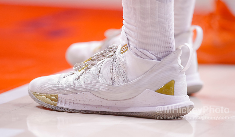 CHAMPAIGN, IL - JANUARY 23: Detailed view of the Under Armor shoes worn by Ethan Happ #22 of the Wisconsin Badgers during the game against the Illinois Fighting Illini at State Farm Center on January 23, 2019 in Champaign, Illinois. (Photo by Michael Hickey/Getty Images) *** Local Caption *** Ethan Happ