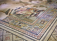 Roman mosaics - The Theonoe Mosaic. Kointos Villa Ancient Zeugama, 2nd - 3rd century AD . Zeugma Mosaic Museum, Gaziantep, Turkey. .<br /> <br /> If you prefer to buy from our ALAMY PHOTO LIBRARY  Collection visit : https://www.alamy.com/portfolio/paul-williams-funkystock/roman-mosaic.html - Type -   Zeugma   - into the LOWER SEARCH WITHIN GALLERY box. Refine search by adding background colour, place, museum etc<br /> <br /> Visit our ROMAN MOSAIC PHOTO COLLECTIONS for more photos to download  as wall art prints https://funkystock.photoshelter.com/gallery-collection/Roman-Mosaics-Art-Pictures-Images/C0000LcfNel7FpLI