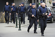 March 15, 2016 - Brussels, BELGIUM - <br /> <br /> Brussels Shooting <br /> <br /> The site of a shooting in the rue du Dries-Driesstraat in Forest-Vorst, Brussels, Tuesday 15 March 2016. The shooting took place during searches linked to the Paris terrorist attacks. Three members of federal police where lightly injured in the operation and police is still searching for the shooter<br /> ©Exclusivepix Media