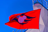 Disney Cruise Line flag, Disney Dream cruise ship sailing between Florida and the Bahamas
