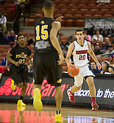 Bryan Urrutia (20) of El Paso Harmony Science Academy brings the ball up the court against Dallas Triple A Academy during the UIL Conference 1A semifinals at the Frank Erwin Center in Austin on Thursday, March 7, 2013. (Cooper Neill/The Dallas Morning News)