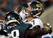 during the first half of an NFL football game, Saturday, Aug. 24, 2013, in Jacksonville, Fla. (AP Photo/=2051365=)