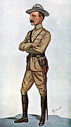 Robert Stephenson Smyth Baden-Powell (1857-1941) English soldier; founded Boy Scouts (1910). In Boer War won fame as defender of Mafeking (1899-1900) Cartoon from 'Vanity Fair' London 1900.