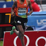 Hagos Gebrhiwet, Ethiopia in action winning the Men's 5000m race at  the Diamond League Adidas Grand Prix at Icahn Stadium, Randall's Island, Manhattan, New York, USA. 25th May 2013. Photo Tim Clayton