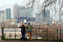 © Licensed to London News Pictures. 04/03/2017<br /> View of Canary Wharf from Greenwich Park.<br />  A bright spring day at Greenwich Park,Greenwich,London.<br /> Photo credit :Grant Falvey/LNP