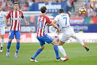 "Atletico de Madrid's player Juanfran Torres and Malaga CF XJuan Carlos ""Juankar"" PerezXX during a match of La Liga Santander at Vicente Calderon Stadium in Madrid. October 29, Spain. 2016. (ALTERPHOTOS/BorjaB.Hojas)"