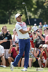 August 10, 2018 - Town And Country, Missouri, U.S - RICKIE FOWLER from Murrieta California, USA  watches his tee shot on hole number three during round two of the 100th PGA Championship on Friday, August 10, 2018, held at Bellerive Country Club in Town and Country, MO (Photo credit Richard Ulreich / ZUMA Press) (Credit Image: © Richard Ulreich via ZUMA Wire)