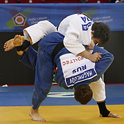 Rusia's Sirazhudin MAGOMEDOV (F) and MDA's Sergiu TOMA (B) during their men's 81 kg. category bout at the European Judo Championships in the Abdi Ipekci Arena, Istanbul, Turkey on 22 April 2011. Photo by TURKPIX