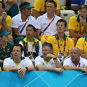 Kieren Perkins and Steve Waugh with the Australian swim team during the swimming finals at the Aquatic Centre at Olympic Park, Stratford during the London 2012 Olympic games. London, UK. 28th July 2012. Photo Tim Clayton