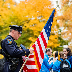 02-11-2018 USA: NYC Marathon We Run 2 Change Diabetes day 1, New York<br /> The day of the opening ceremony / police, flag