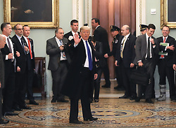 March 26, 2019 - Washington, District of Columbia, U.S. - United States President Donald J. Trump departs after joining Senate Republicans for their weekly policy luncheon at the U.S. Capitol March 26, 2019 in Washington, DC. After the conclusion of special counsel Robert Mueller's investigation, Trump is meeting with lawmakers to chart a legislative course for the next two years of his administration. .Credit: Chip Somodevilla / Pool via CNP (Credit Image: © Chip Somodevilla/CNP via ZUMA Wire)