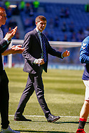 Rangers Manager Steven Gerrard  soaking up the atmosphere following the Ladbrokes Scottish Premiership match between Rangers and Celtic at Ibrox, Glasgow, Scotland on 12 May 2019.