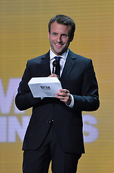 French Minister of the Economy, Industry and the Digital Sector Emmanuel Macron during the BFM Awards 2015 ceremony held at Theatre des Champs-Elysees in Paris, France on November 2, 2015. Photo by Christian Liewig/ABACAPRESS.COM