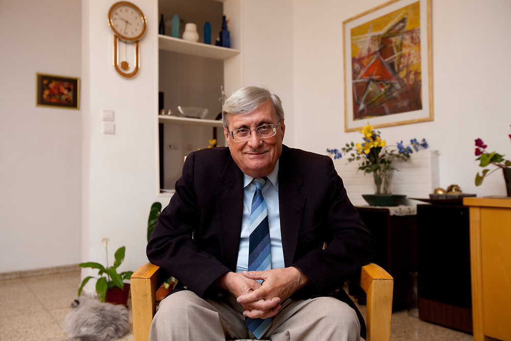 Israel's retired Supreme Court justice, Jacob Turkel, head of a commission of inquiry into the raid on the Gaza Aid Flotilla, poses for a portrait at his home in Jerusalem, on June 13, 2010.