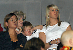 Aug 27, 2003; Madrid, SPAIN; (File Photo 2003-08-27) Former PA to Madrid soccer star David Beckham, REBECCA LOOS (far left), seen with David's son BROOKLYN BECKHAM & his mother & sister during Real Madrid's victory against Mallorca in the Spanish Super Cup. British Tabloid 'The News of The World' has published 'claims' that David had a brief affair with Rebecca whilst Victoria was still in England. (Credit Image: © 475/cid/ZBP/ZUMAPRESS.com)