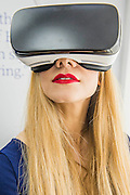 Virtual reality is common this year, here on the Fairline boats  stand - The London Boat Show opens at the Excel centre. London 06 Jan 2017