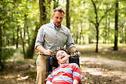 BIRMINGHAM, AL – AUGUST 26, 2018: Dr. Matthew Might takes a walk with his son, Bertrand, at the Jemison Park Nature Trail. Formerly a strategic leader appointed to the White House Precision Medicine Initiative by former President Barack Obama, Might was named the inaugural director of the Hugh Kaul Personalized Medicine Institute at the University of Alabama at Birmingham School of Medicine. CREDIT: Bob Miller for The New York Times