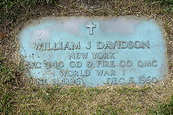 31 August 2017:   Veterans graves in Park Hill Cemetery in eastern McLean County.<br /> <br /> William J Davidson New York  SFC 340 GD & Fire Co QMC  World War I June 11 1896  Dec 5 1960