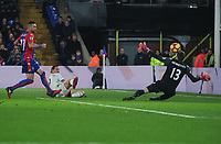 Football - 2016 / 2017 Premier League - Crystal Palace vs. Manchester United<br /> <br /> Zlatan Ibrahimovic  of Manchester United scores the winning goal past Wayne Hennessey in the 88th  min at Selhurst Park<br />  <br /> COLORSPORT/ANDREW COWIE