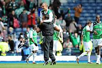 Football - Scottish Cup Semi-final - Aberdeen vs. Hibernian<br /> Leigh Griffiths (Hibernian) celebrates with his manager Pat Fenlon at Hampden Park.