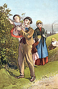The Country Walk. Family from a mill town, whose chimneys are in background, taking a Sunday walk. Chromolithograph c1880.