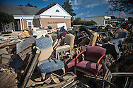 Sept. 1, 2016,  Denham Springs, funeral home destroyed by the 1000 year flood with gutted contents on the side walk in front waitting to be taken away two weeks after the storm.