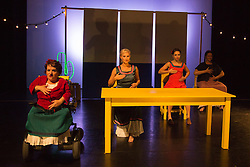 "© Licensed to London News Pictures. 05/10/2015. London, UK. L-R: Caroline Bowditch, Welly O'Brien, Nicole Guarino and Yvonne Strain. Caroline Bowditch's ""Falling in Love with Frida"" explores the life, loves and legacy of disabled artist Frida Kahlo at the Lilian Baylis Studio/Sadler's Wells on 5-6 October 2015. Performed by Caroline Bowditch, Welly O'Brien, Nicole Guarino and Yvonne Strain (sign language interpreter). Photo credit: Bettina Strenske/LNP"