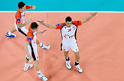 Lukas Divis of Jastrzebski celebrates during volleyball match between ACH Volley (SLO) and Jastrzebski Wegiel (POL) in 6th Round of 2011 CEV Champions League, on January 12, 2011 in Arena Stozice, Ljubljana, Slovenia. (Photo By Vid Ponikvar / Sportida.com)