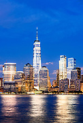 Skyline at night of downtown Manhattan, New York City, with the Freedom Tower, One World Trade Center, OneWTC.