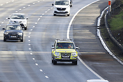 © Licensed to London News Pictures. 29/02/2020. Reigate, UK. A traffic enforcement vehicle passes the spot (R) on clockwise carriageway of the M25 where the body of a woman was found this morning as traffic resumes. Officers have confirmed the body of a 36-year-old woman was discovered on the carriageway between junctions 8 and 10 clockwise. Photo credit: Peter Macdiarmid/LNP