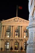 Lisbon's city hall building by night.