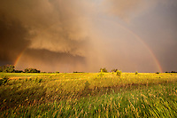 A rainbow and a receding supercell, June 7, 2009.