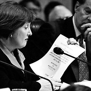 """Commissioner Jamie Gorelick questioning New York City Mayor Rudolph """"Rudy"""" Guiliana during the 9/11 Commission's 11th Public Hearing, New School University, New York."""