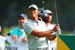 August 25, 2018 - Paramus, NJ, U.S. - PARAMUS, NJ - AUGUST 25:  Tiger Woods plays his shot from the eighth tee during the third round of The Northern Trust on August 25, 2018 at the Ridgewood Championship Course in Ridgewood, New Jersey.   (Photo by Rich Graessle/Icon Sportswire) (Credit Image: © Rich Graessle/Icon SMI via ZUMA Press)