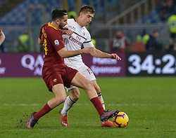 February 3, 2019 - Italy - Kostas Manolas, Krysztof Piatek during the Italian Serie A football match between A.S. Roma and A.C. Milan at the Olympic Stadium in Rome, on february 03, 2019. (Credit Image: © Silvia Lore/NurPhoto via ZUMA Press)