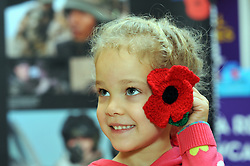 © Licensed to London News Pictures. 10/11/2013<br /> This little girl trying a woollen poppy in her hair from the Royal British Legion Stand at Bluewater.<br /> Shoppers and staff at Bluewater near Greenhithe in Kent stop and observe a Two minute silence today (10.11.2013) for Remembrance sunday.<br /> Photo credit :Grant Falvey/LNP