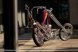 Takayuki Nakazawa's 1944 Harley-Davidson EL Knucklehead custom at the 27th Annual Mooneyes Yokohama Hot Rod Custom Show 2018. Yokohama, Japan. Saturday, December 1, 2018. Photography ©2018 Michael Lichter.
